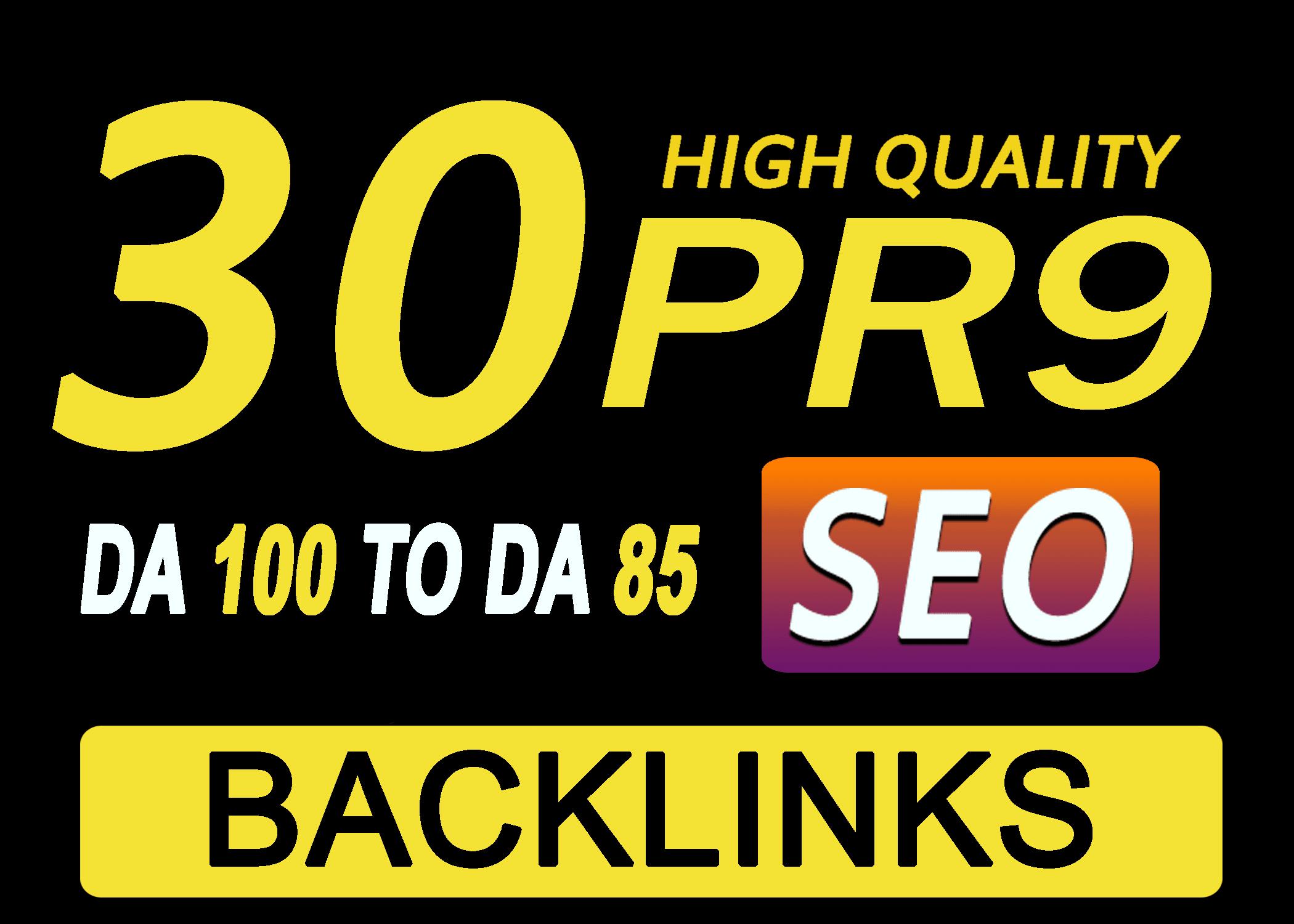 Create manually 30 pr9 and pr10 high authority SEO backlinks