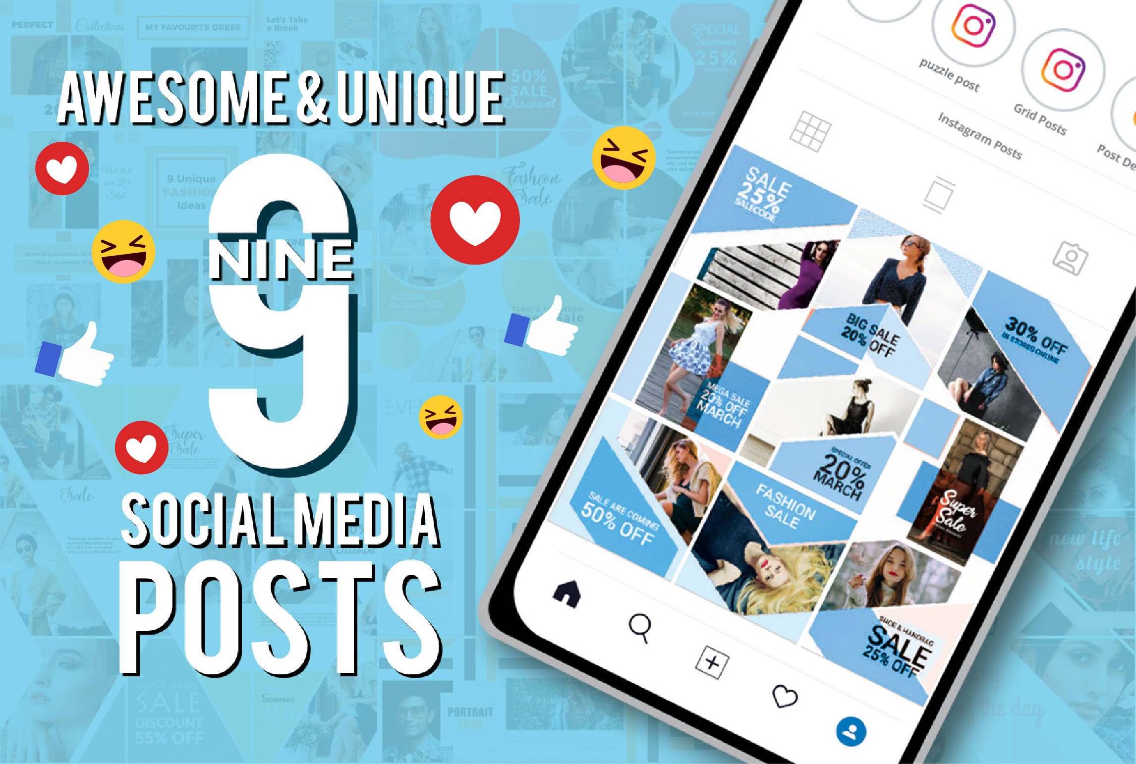 I will create 9 awesome instagram and facebook posts designs