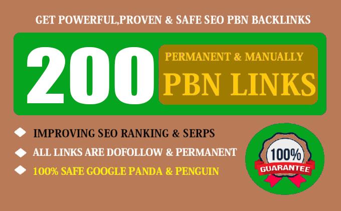 200 Permanent High Quality DA 70+ Homepage Dofollow PBN Backlinks