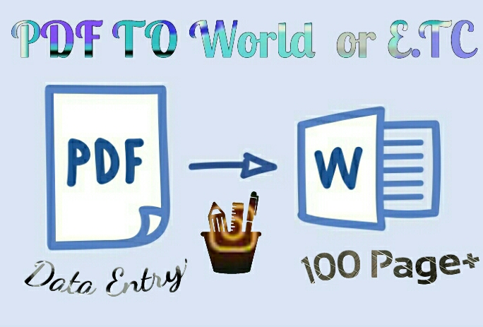 I will convert PDF to microsoft office, PDF to DOC,  JPG to PDF,  data entry,  copy paste