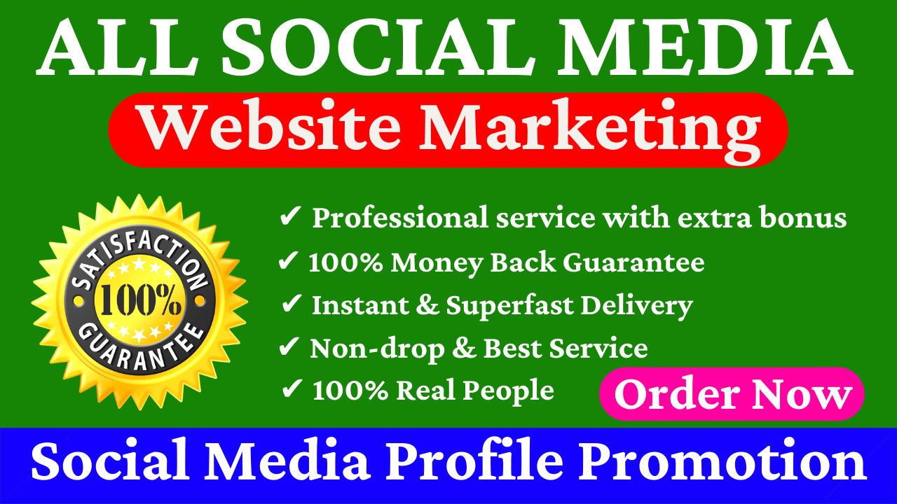 All Social Media Profile Promotion YouTube Facebook Twitter TikTok And Many More Website Marketing