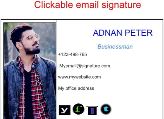 I will create HTML clickable email signature with clickable social media icons