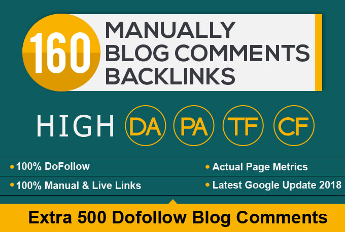 160 high pa da blog comments backlinks manually