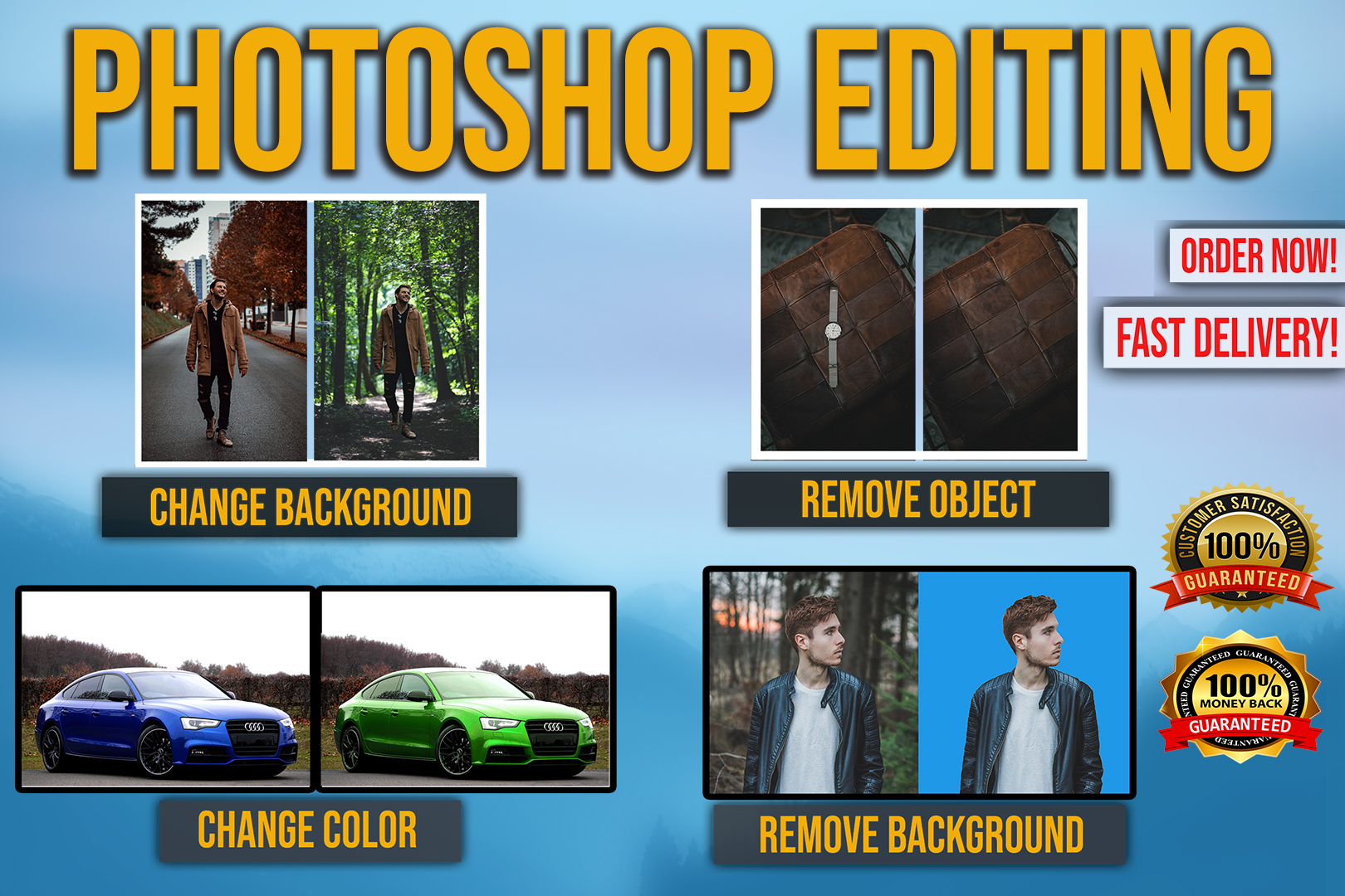 I will do any photoshop editing,  retouching fast delivery