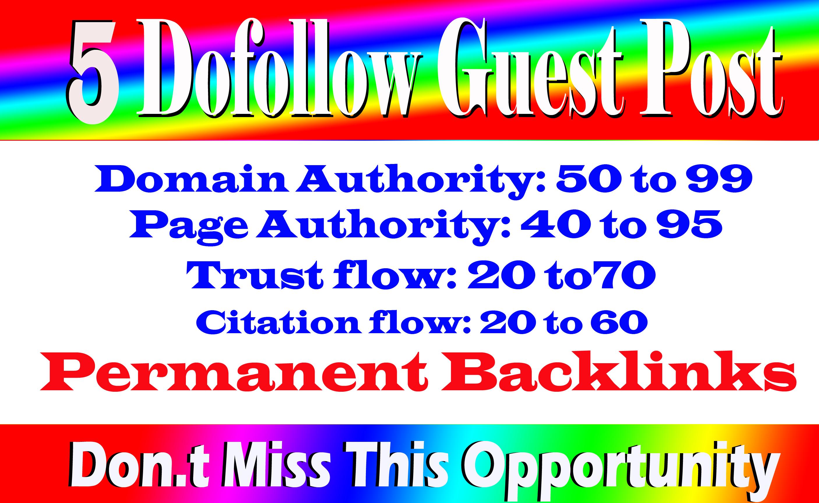 Write Publish 5 Dofoll0w Guest Post On High Traffic And High DA 79 plus Sites