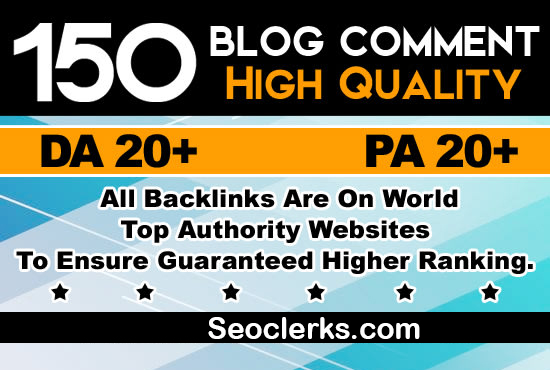 i will provide 150 dofollow blog comment backlink off page seo