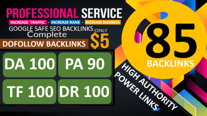 Manually Build 85 Unique Domain SEO Backlinks on TF 100 DA 100 Sites Only From FalconSEO