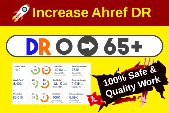I will increase ahrefs DR 65 domain rating with authority backlinks