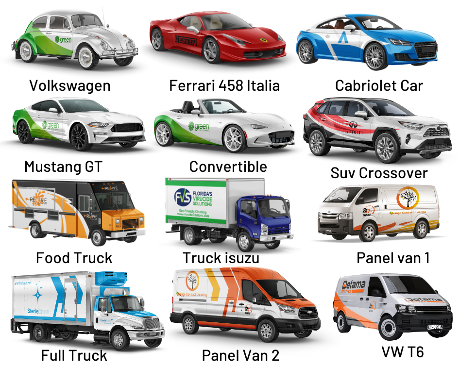 I will put your logo on 3d car,  truck,  bus, van or vehicle models wrap design mockup