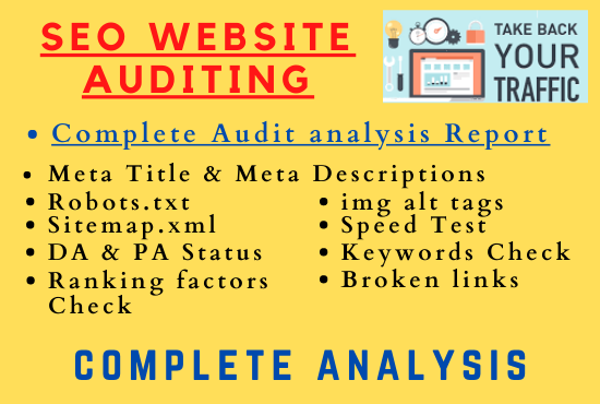 Complete Professional SEO website Audit to Rank website On TOP