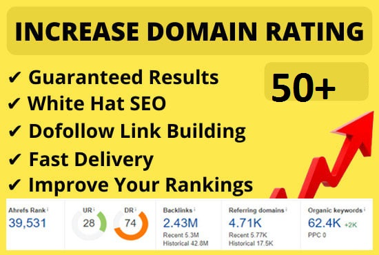 I will increase Ahrefs domain rating DR 50+ plus in 25 days with SEO Link building