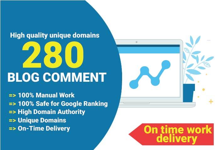 Create 280 Unique domain blog comment backlinks