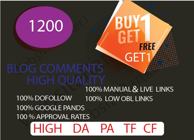 I will provide 1200 Blog comments plus FREE 10 profile backlinks for your website
