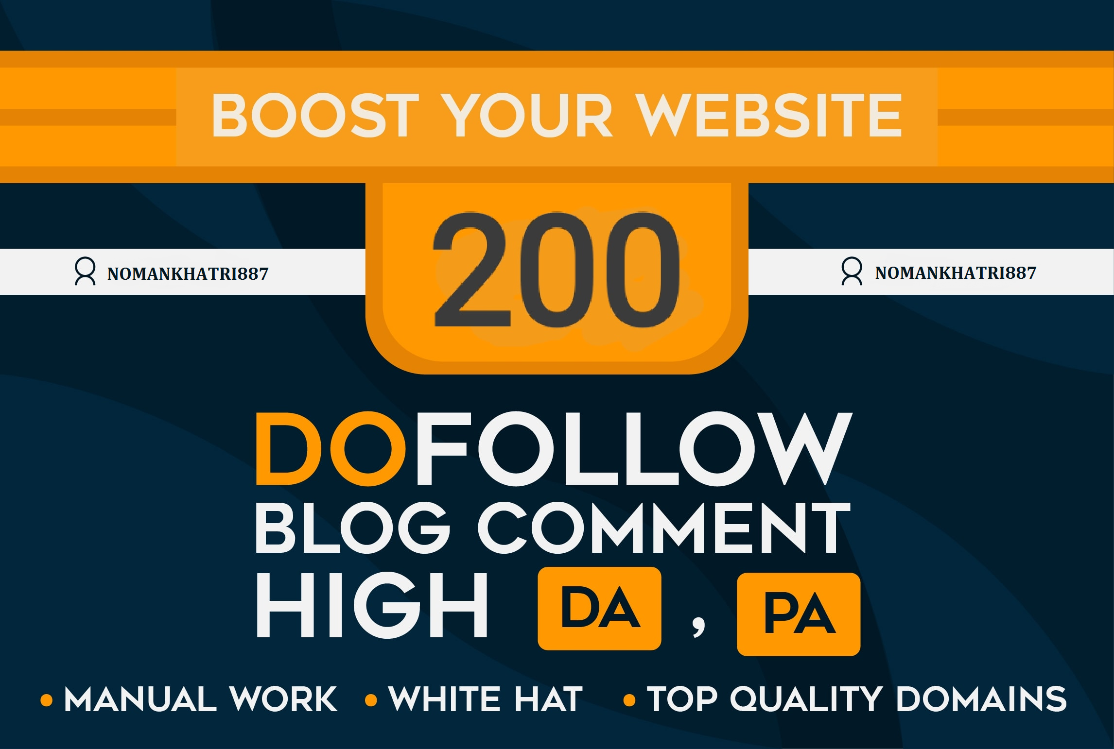 I will 200 blog comments seo backlinks on high da pa