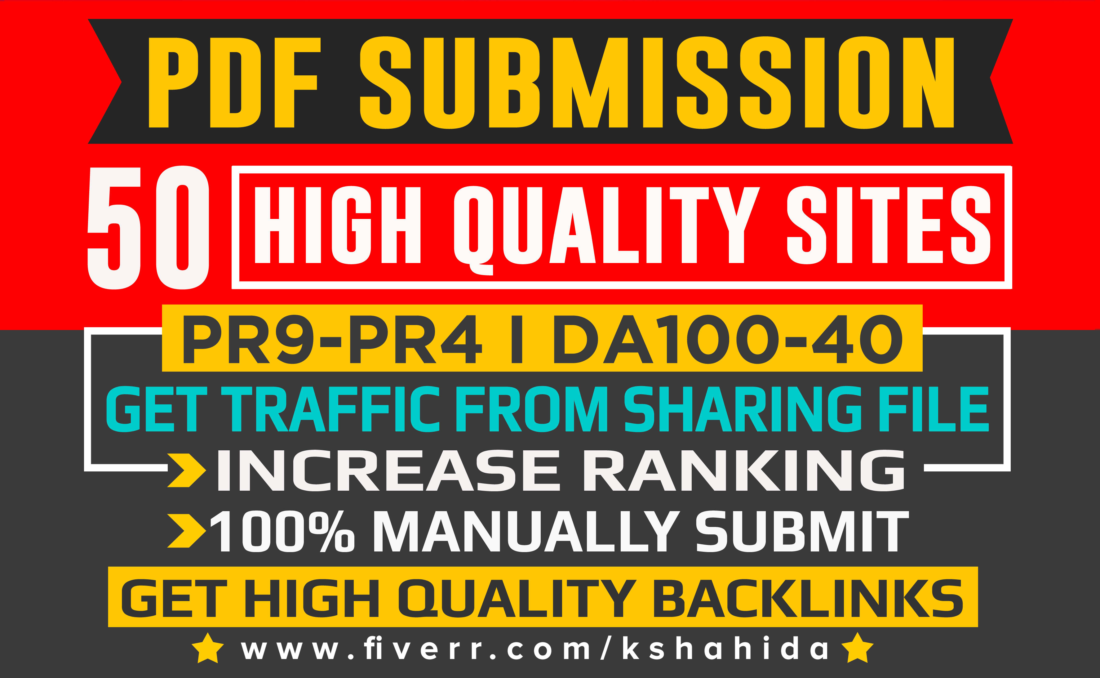 PDF submission to 50 document sharing sites for Quality Backlinks