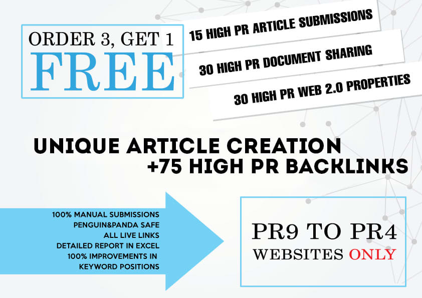 Create 75+ high da backlinks in pr 9 to 4 sites manually