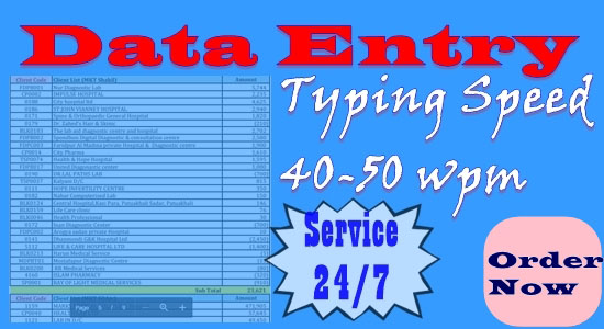 I usually work on any data Including data entry data collection,  excel,  MS Word per hour