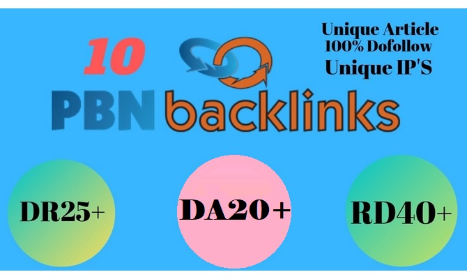 I will do 10 Unique PBN Dofollow DA 20+ parmanent homepage backlinks