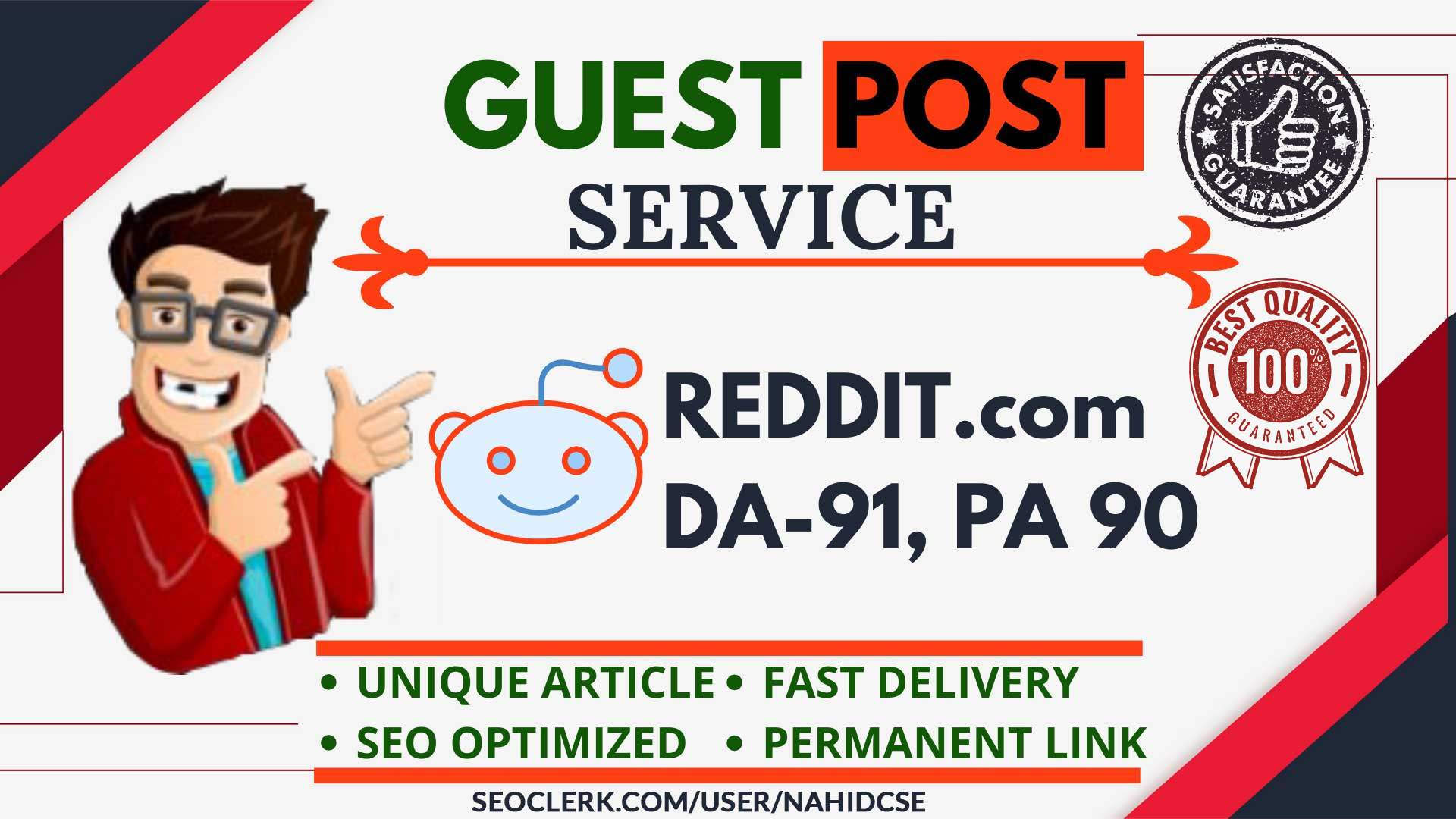 Powerful 3 Guest Post on REDDIT. com DA 95+ high visitor site