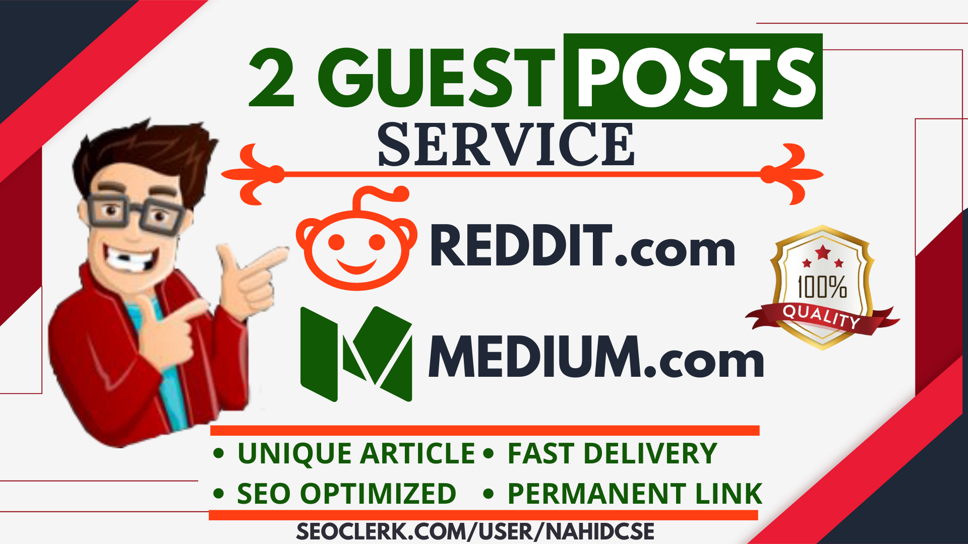 Write and Publish 2 Guest Post SEO Service On Reddit. com,  Medium. com DA 95+ monthly visitor 35M+