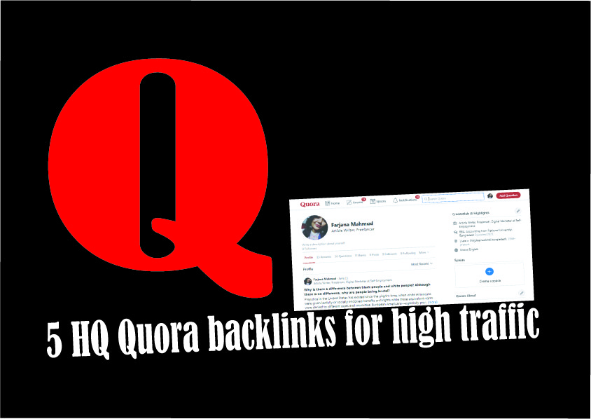 Boost your domain with 5 HQ Quora Backlinks for high traffics