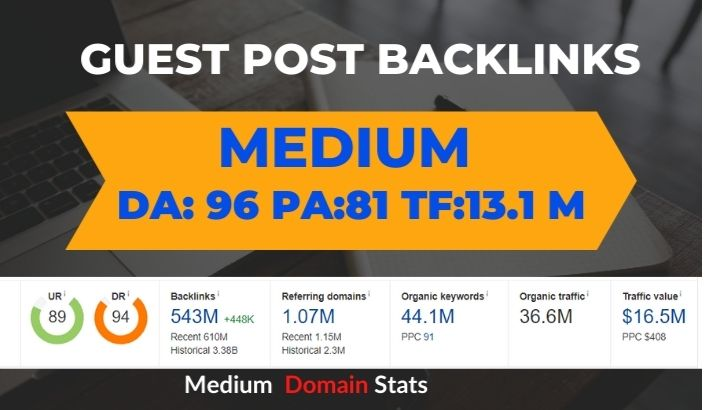 I will Write and Publish high da Guest Post on Medium. com DA 96 PA 81 TF 36 M