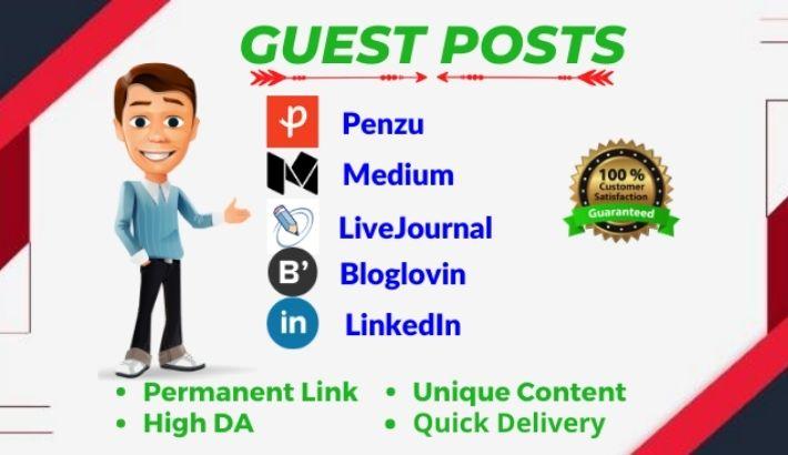 3 High DA Guest post on da 91 to 98 websites Bloglovin,  LinkedIn and Medium