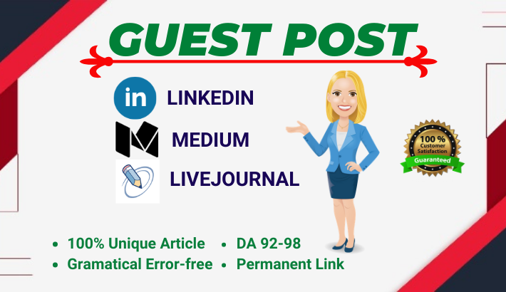 Write and Publish 3 High Authority Guest post on DA 92 to 98 websites