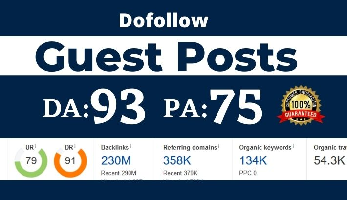 Write and publish High Domain Authority Guest Post with Dofollow Backlink-DA93