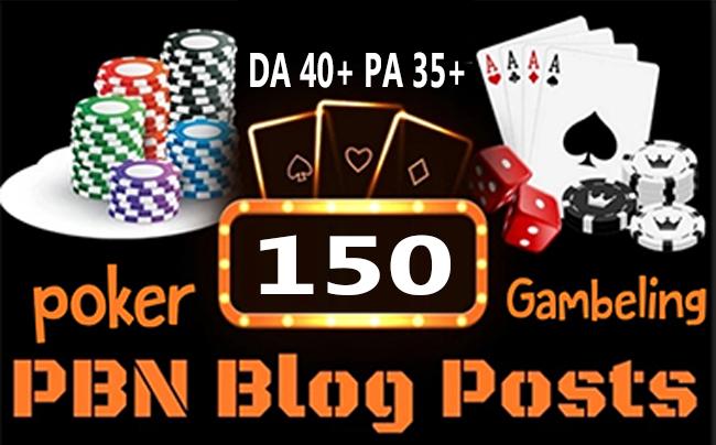 Poker/Casino/Gambling 150 web 2.0 PBN Dofollow Backlink Unique Sites DA 40+ PA 35+