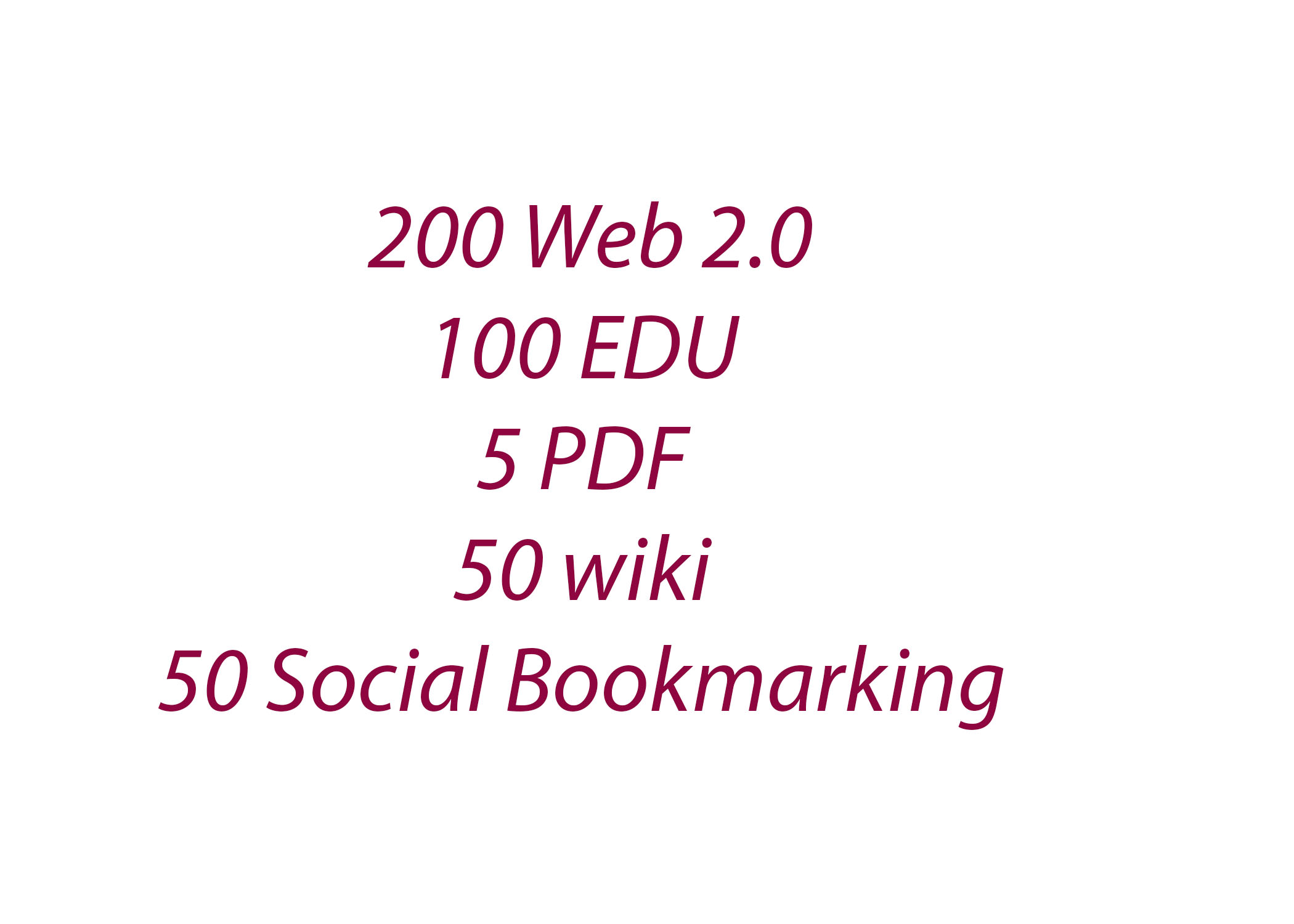 200 Web 2.0 + 20 EDU/GOV + 5 PDF + 50 wiki + 50 social bookmarking
