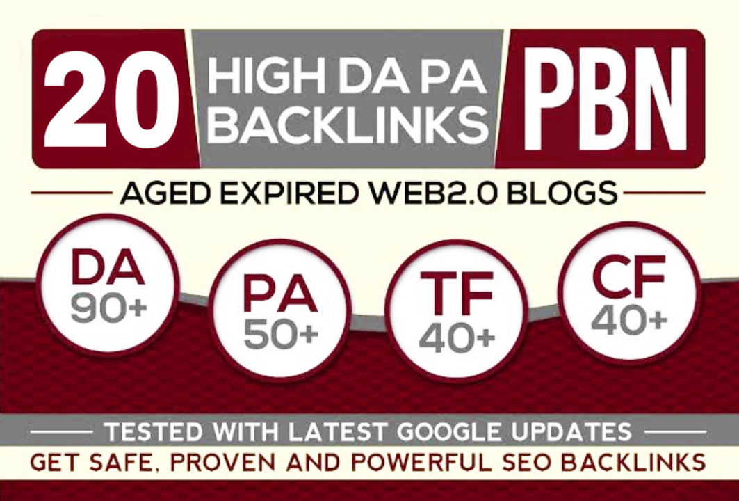 Landing page 20 PBN High 20 Plus DA PA CF TF Moz Authority Expired space Backlinks