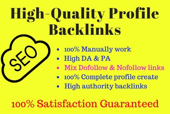 I will do 100 high DA profile creation backlinks