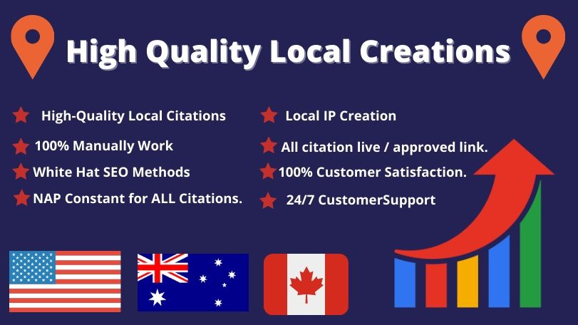 I will create 30 USA,  UK,  CA,  AUS local listing or local citations for local SEO