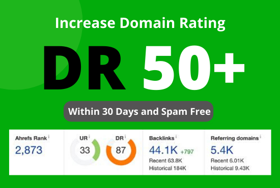 I will Increase domain rating ahref DR 50+ within 30 days