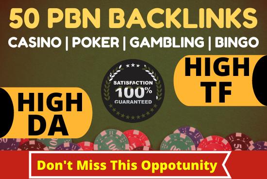 50 PBN Backlinks for casino poker gambling bingo high da pa links