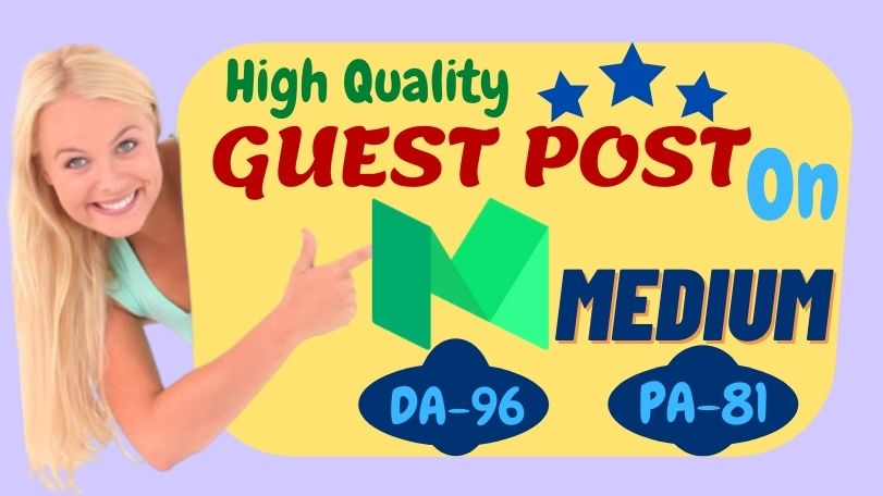 Write & Publish High quality guest post Backlink on Medium with unique Niche Article.