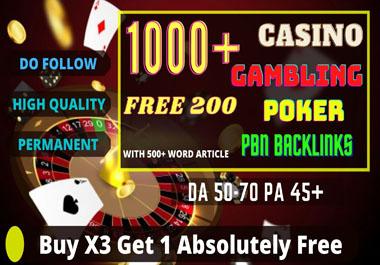 1000+ PBN Blog Post Casino/Gambling/Poker/judi Bola Niche Related High Quality Permanent Post.