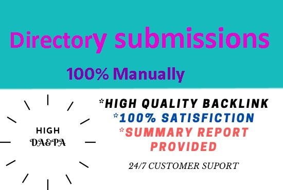 I will create 30 directory submission high Authority powerful backlinks.