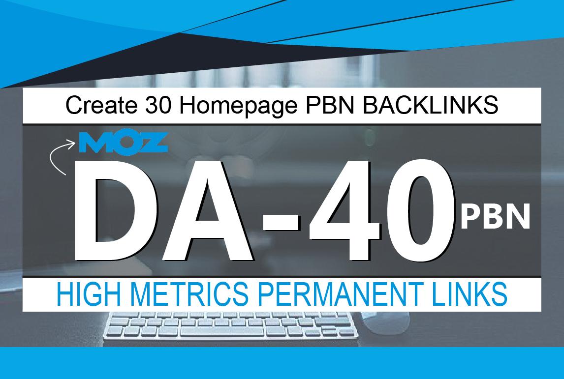 Create 30 Homepage PBN Backlinks High Quality DA 40 to 50 Plus