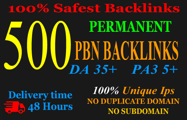 Create 500+PBN Backlink in your website hompage with HIGH DA/PA/TF/CF with unique websites