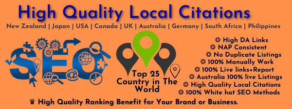 I will create 120 local citations for all countries
