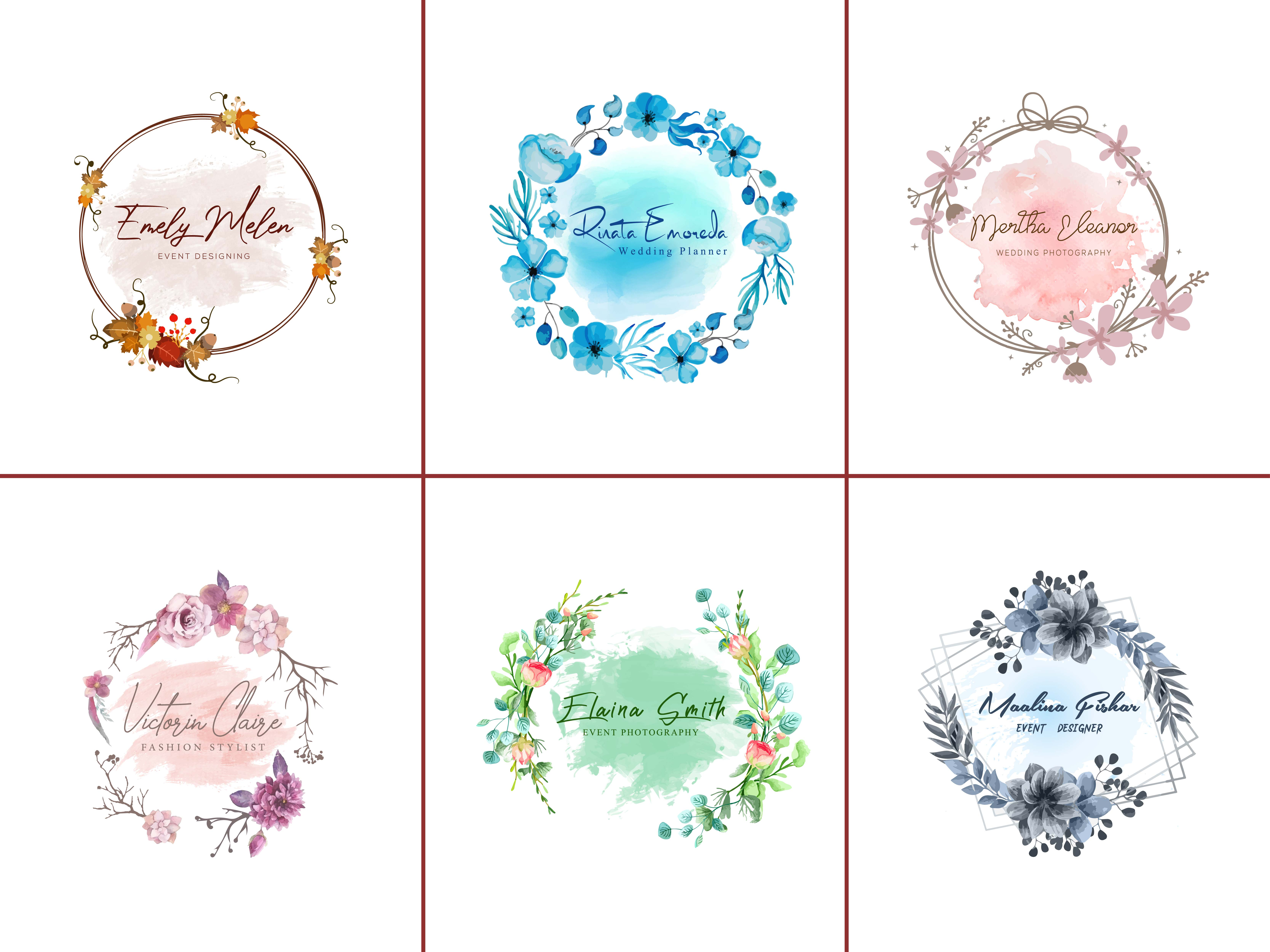 I will design feminine hand drawn watercolor logo for you