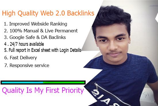 I will Create Manually HQ 50 web 2.0 backlinks