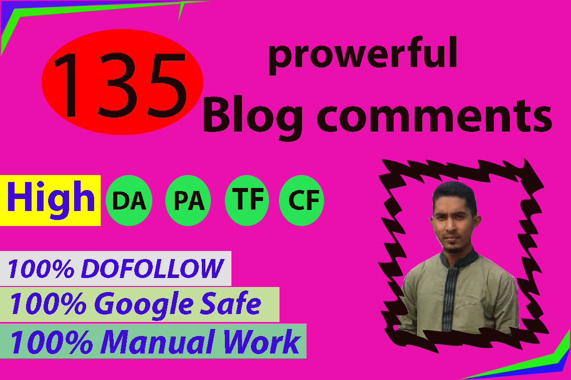 I will create 135 high da pa manual blog comments backlinks