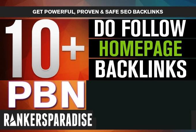 10 High Quality HomePage Dofollow PBN Links.