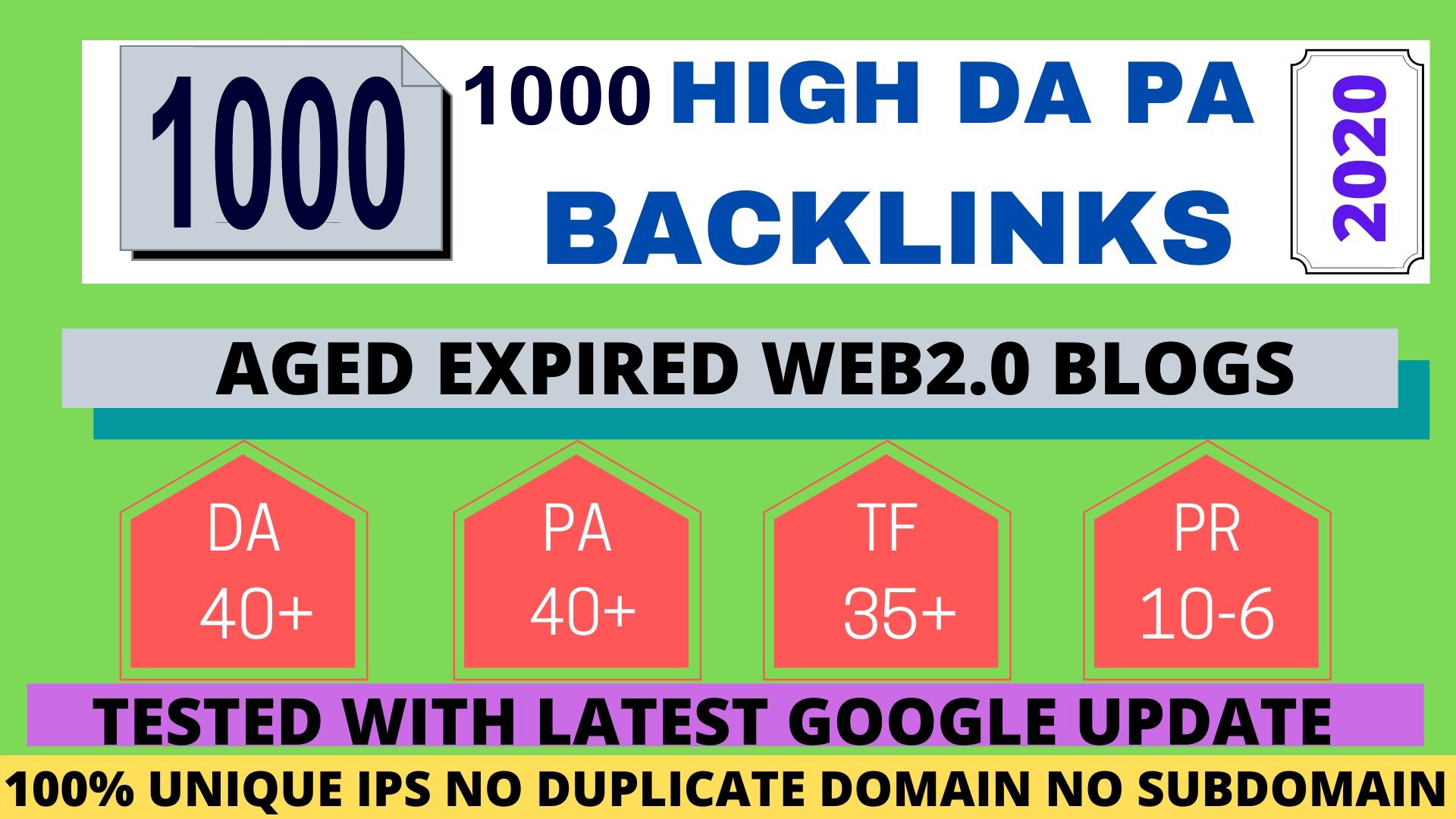 I will do 1000+PBN Backlink in your website hompage with HIGH DA/PA/TF/CF with unique website