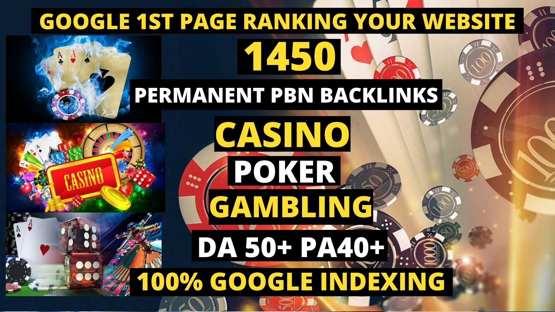 Get Unique 1450 Casino/Gambling/Poker/Judi Dofollow Backlinks Sites DA 50+ PA 40+ 500+ Words Article