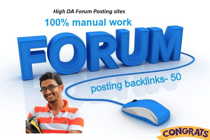 Manually Do 50 High Quality Forum Posting SEO Backlinks