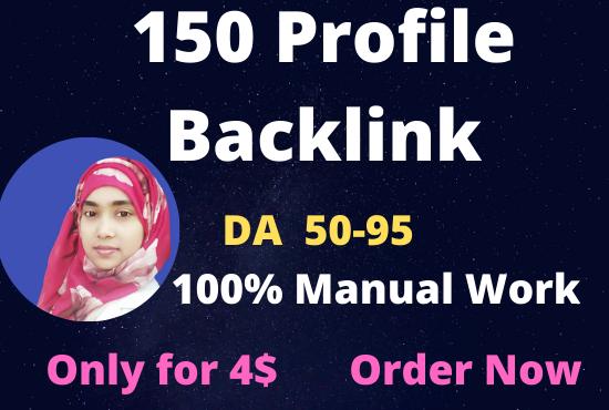 I will create 150 high DA and PA 40 to 95 profile backlinks.